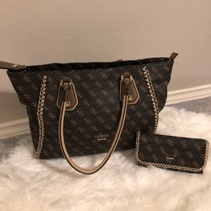 Guess tote with matching wallet.
